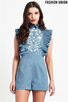 Fashion Union Embroidered Denim Frill Playsuit