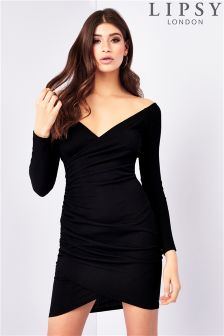 Lipsy Bardot Rib Wrap Dress