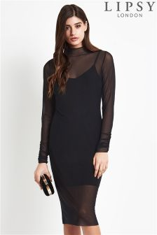 Lipsy Long Sleeve Mesh Bodycon Dress