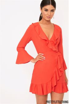 PrettyLittleThing Wrap Frill Dress