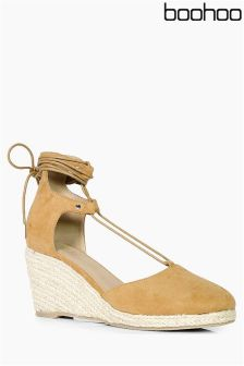Boohoo Lace Up Espadrille Wedges