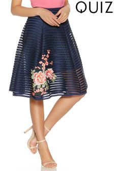 Quiz Mesh Flower Embroidered Midi Skirt