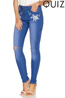 Quiz Flower Embroidered Ripped Skinny Jeans