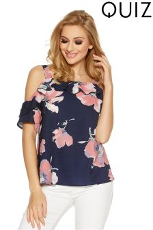 Quiz Floral Print Strappy Cold Shoulder Top