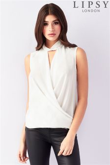 Lipsy Sleeveless Choker Wrap Blouse