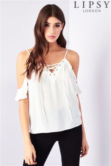 Lipsy Lace Up Cold Shoulder Cami Top