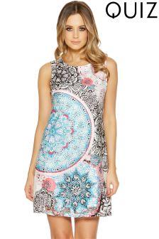 Quiz Lace Aztec Print Tunic Dress