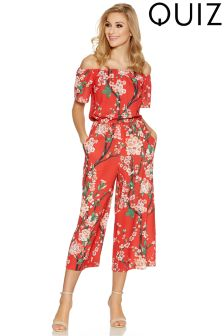 Quiz Floral Print Bardot Jumpsuit