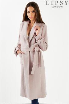 Lipsy Wool Blend Tie Cuff Coat