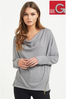 Wal G Cowl Neck Side Zip Top