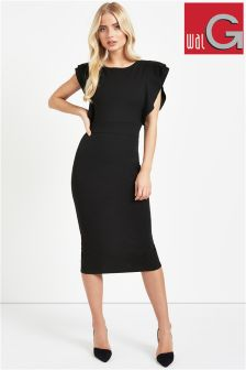 Wal G Ruffle Shoulder Midi Dress