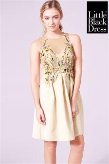 Little Black Dress 3D Flower Embellishment Midi Dress
