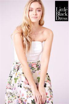 Little Black Dress Lace Overlay Floral Skater Dress