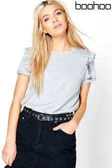 Boohoo Rosie Ruffle Sleeve T-shirt