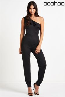 Boohoo One Shoulder Ruffle Jumpsuit