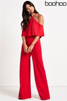 Boohoo Halterneck Cold Shoulder Jumpsuit