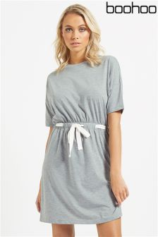 Boohoo Tie Waist Sweater Dress