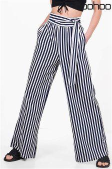 Boohoo Tie Waist Striped Wide Leg Trousers