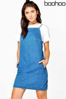 Boohoo Strappy Bodycon Denim Dress