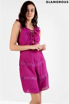 Glamorous Tie Up Front Frill Lace Dress