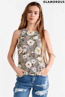 Glamorous Curve Floral Print Top