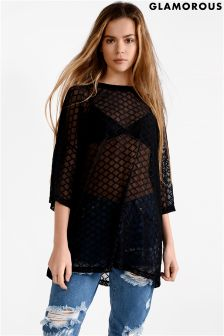 Glamorous Curve Mesh Large Diamond Over Sized Tee