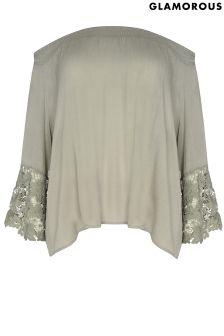 Glamorous Curve Crochet Bell Sleeve Top