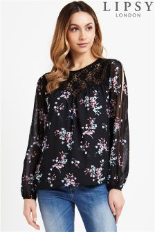 Lipsy Split Sleeve Printed Blouse