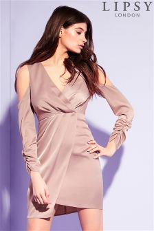 Lipsy Satin Cold Shoulder Shift Dress
