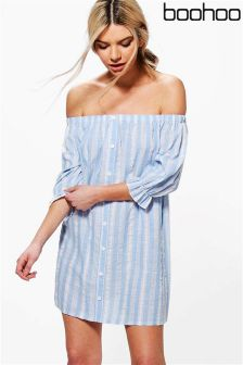 Boohoo Off The Shoulder Shift Dress