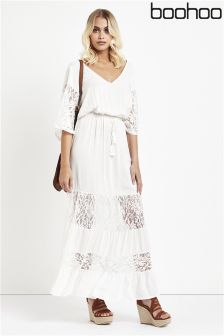 Boohoo Lace Panelled Maxi Dress