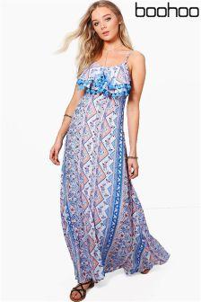 Boohoo Paisley Split Front Tassle Maxi Dress