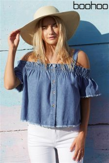 Boohoo Denim Button Front Crop Top