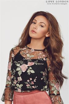 Lipsy Love Michelle Keegan Floral Embroidered Bell Sleeve Blouse