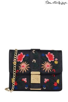 Miss Selfridge Black Embroidered Cross Body Bag