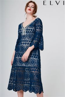 Elvi Curve Lace Bardot Dress