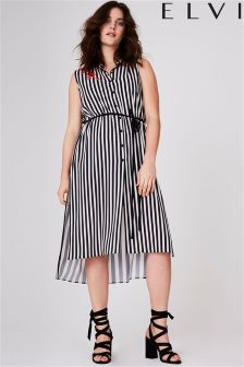 Elvi Curve Stripe Sleeveless Shirt Dress