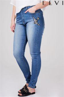Elvi Curve Denim Motif Jeans