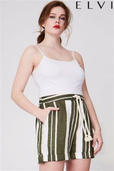 Elvi Curve Stripe Cotton Shorts
