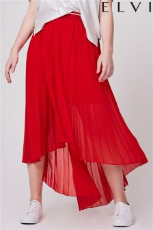 Elvi Curve Pleated Chiffon Skirt