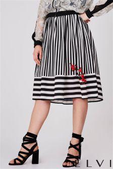 Elvi Curve Stripe Midi Skirt