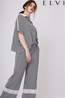 Elvi Curve Stripe Wide Leg Trousers