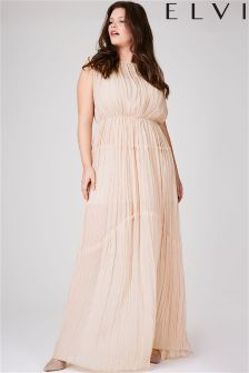 Elvi Hayley Hasselhoff Collection Nude Pleated Gown