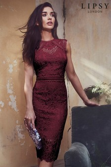 Lipsy VIP Lace Embroidered Midi Dress