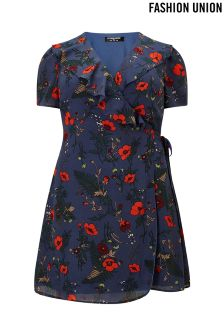 Fashion Union Curve Floral Wrap Front Dress