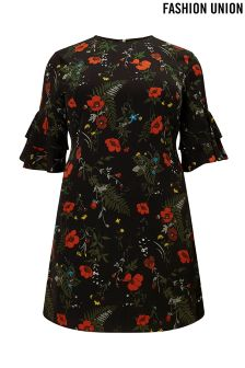Fashion Union Curve Floral Shift Dress