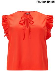 Fashion Union Curve Frill Sleeve Shirt