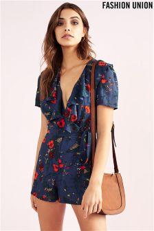 Fashion Union Floral Wrap Front Playsuit