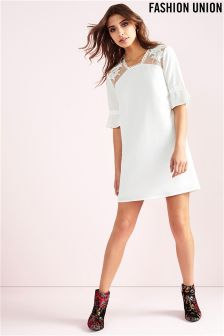 Fashion Union Lace Insert Shift Dress