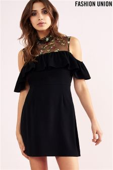 Fashion Union Embroidered Cold Shoulder Dress